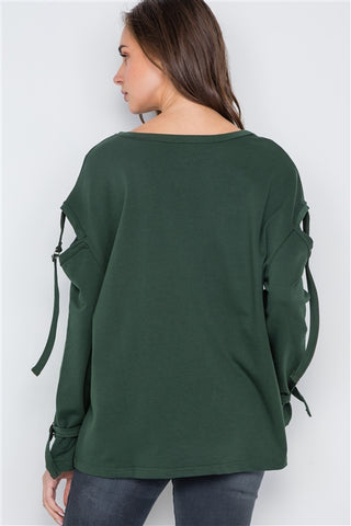 Hunter Green Long Sleeve Cut-Out Sweater- Back