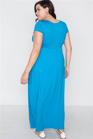 Plus Size Hawaii Blue Short Sleeve Maxi Dress- Back