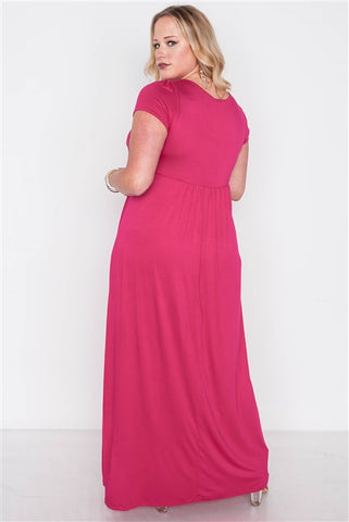 Plus Size Sangria Berry Short Sleeve Maxi Dress- Back
