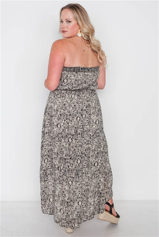 Plus Size Beige Black Strapless High-Low Boho Dress- Full Back