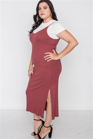 Plus Size Ribbed Rust Two Piece Dress- Side
