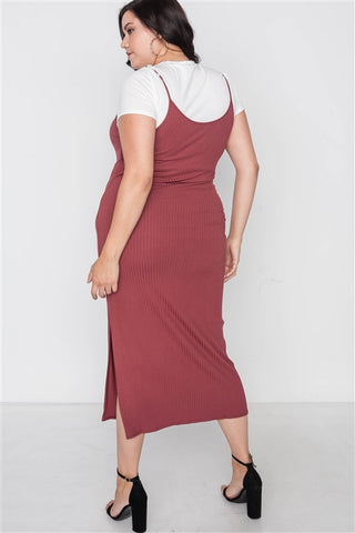 Plus Size Ribbed Rust Two Piece Dress- Back
