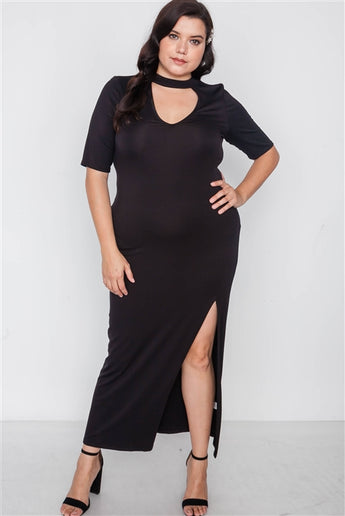 Plus Size Black Site Slit Mock Neck Maxi Dress