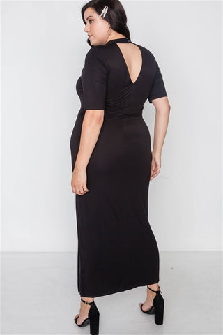 Plus Size Black Site Slit Mock Neck Maxi Dress- Back