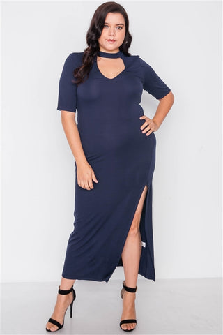 Plus Size Navy Side Slit Mock Neck Maxi Dress
