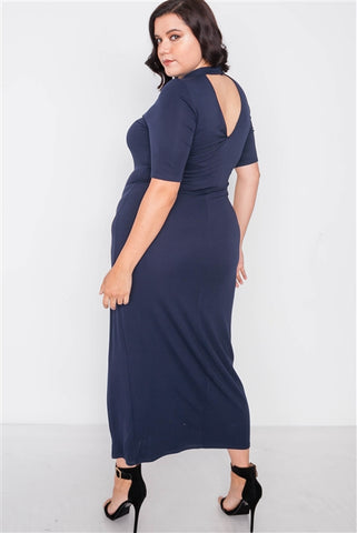 Plus Size Navy Side Slit Mock Neck Maxi Dress- Back