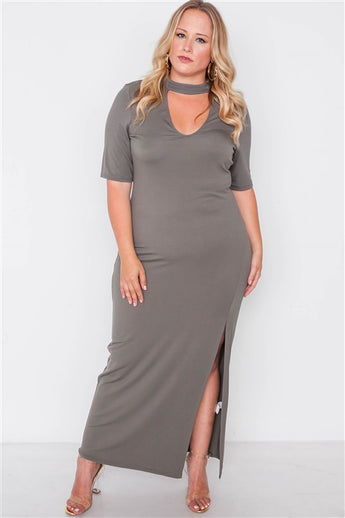 Plus Size Olive Site Slit Mock Neck Maxi Dress