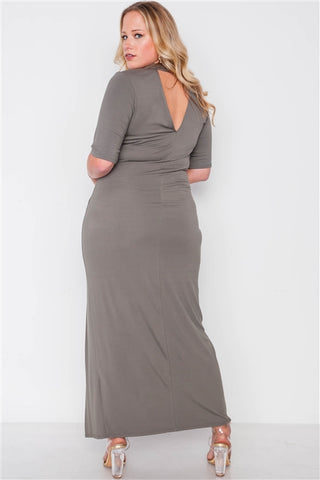 Plus Size Olive Site Slit Mock Neck Maxi Dress- Back