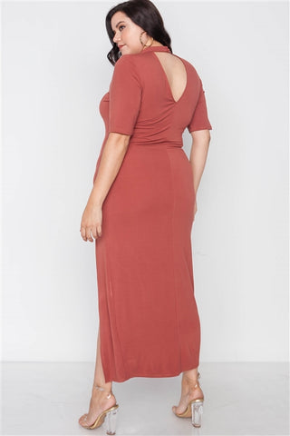 Plus Size Rust Site Slit Mock Neck Maxi Dress- Back