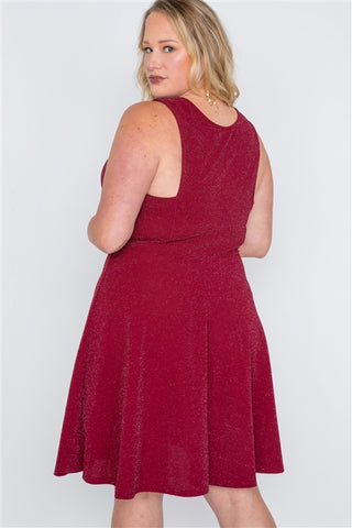 Plus Size Burgundy Sleeveless A-Line Evening Dress- Back Close Up