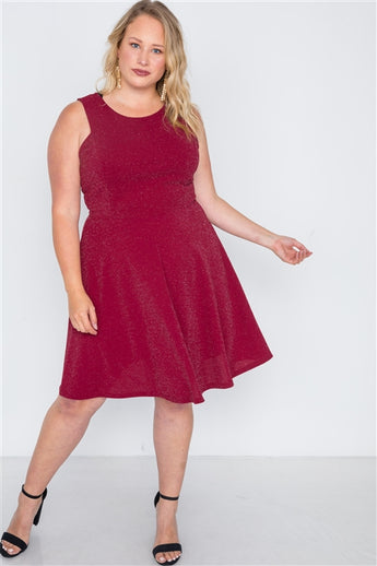 Plus Size Burgundy Sleeveless A-Line Evening Dress- Full Front