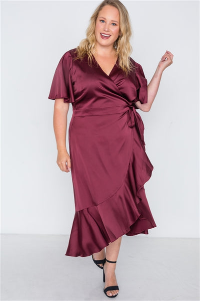 Plus Size Burgundy Satin Flounce Dress
