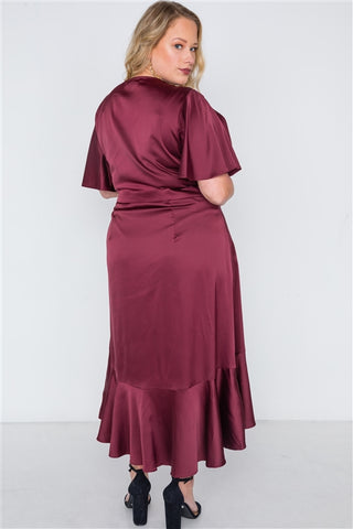 Plus Size Burgundy Satin Flounce Dress- Back