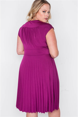 Plus Size Berry Pleat Accordion Fit & Flair Dress- Back