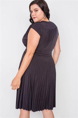 Plus Size Black Pleat Accordion Fit & Flair Dress- Back