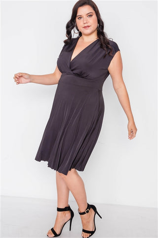 Plus Size Black Pleat Accordion Fit & Flair Dress- Full Side