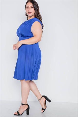 Plus Size Cobalt Pleat Accordion Fit & Flair Dress- Full Side