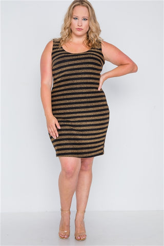 Plus Size Black Gold Stripe Bodycon Mini Dress- Full Front