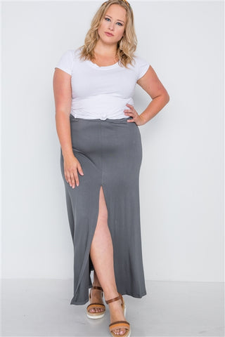 Plus Size Charcoal Basic Front Slit Maxi Skirt- Full Front