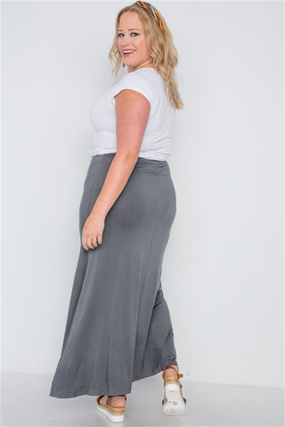 Plus Size Charcoal Basic Front Slit Maxi Skirt- Back