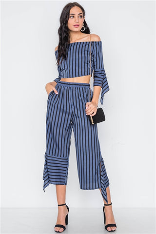 Blue Black Stripe Flounce Capri Pants- Full Front