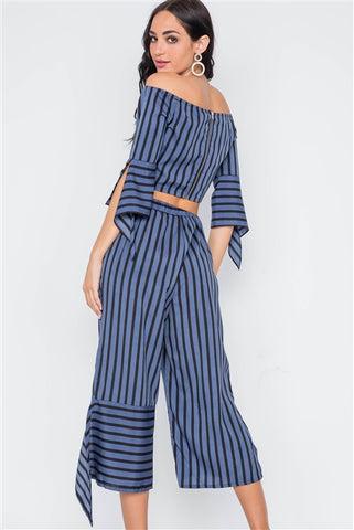Blue Black Stripe Flounce Capri Pants- Back