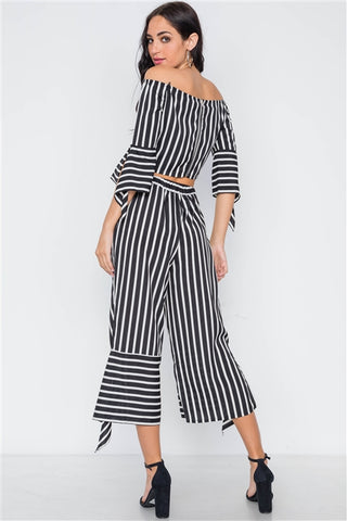 Black and white stripe flounce capri pants- Full Back