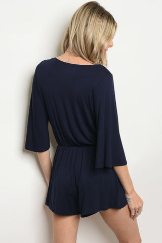 Navy Blue Boho Surplice Romper- Back View