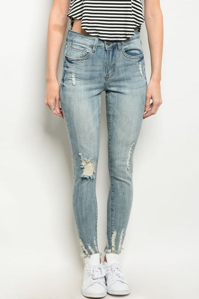Light Blue Frayed Hem Distressed Skinny Jeans- Close Up