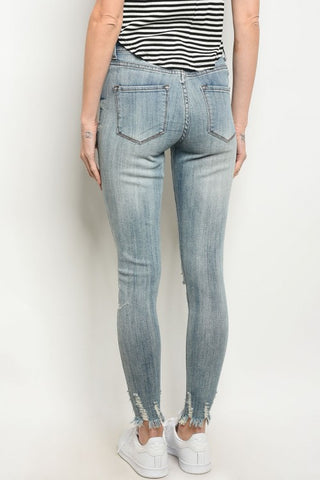 Light Blue Frayed Hem Distressed Skinny Jeans- Back View