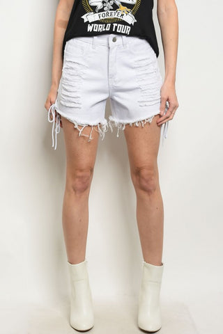 White Side Lace Up Denim Distressed Jean Shorts- Close Up