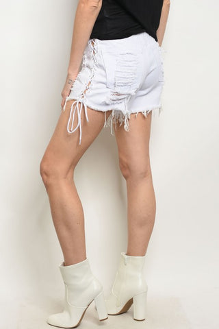 White Side Lace Up Denim Distressed Jean Shorts- Back View
