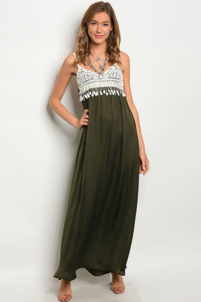 Olive Crochet Bust Maxi Dress