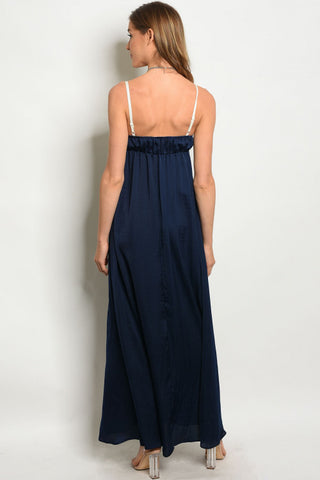 Navy Blue Crochet Bust Maxi Dress- Back View