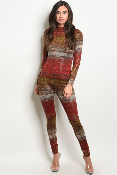 Red and Mustard Gold Rustic Shine Jumpsuit