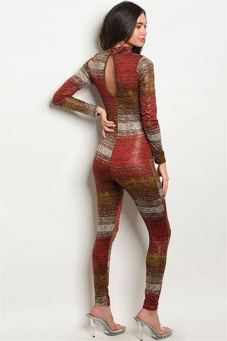 Red and Mustard Gold Rustic Shine Jumpsuit- Back View