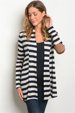 Navy and Cream Open Front Striped Cardigan