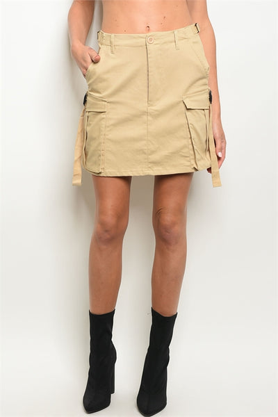 Khaki Cargo Pockets Mini Utility Skirt-Close Up