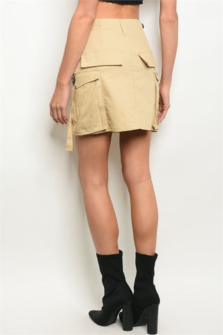 Khaki Cargo Pockets Mini Utility Skirt-Back View