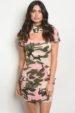 Pink Camouflage Bodycon Dress