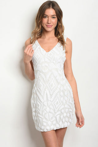 White Lace Up Sequins Dress
