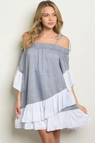 Navy Blue and White Striped Tunic Dress