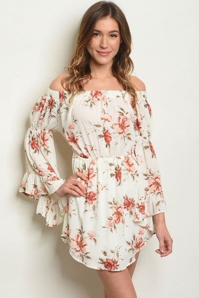 Ivory Floral Off Shoulder Dress