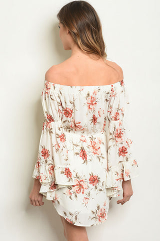 Ivory Floral Off Shoulder Dress-Back View