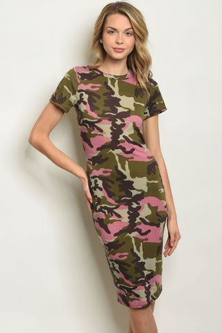 Pink and Green Camouflage Midi Bodycon Dress