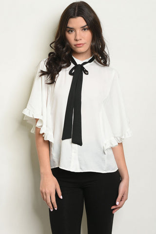 White Ruffle Tie Neck Blouse