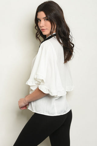 White Ruffle Tie Neck Blouse-Back View