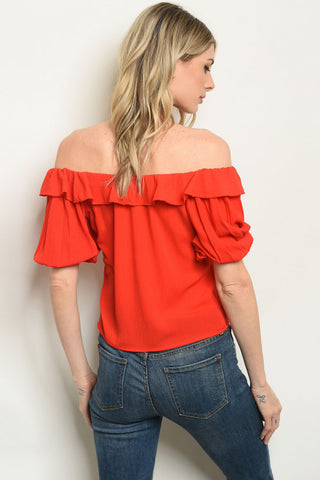 Red Off the Shoulder Blouse-Back View