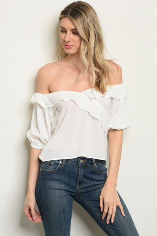 White Off the Shoulder Blouse