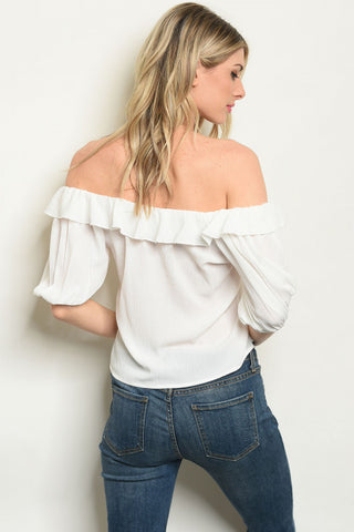 White Off the Shoulder Blouse-Back View